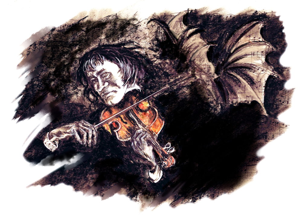sketch of Paganini playing violin
