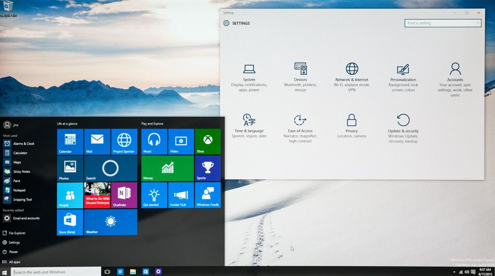 windows 10 start menu and settings window
