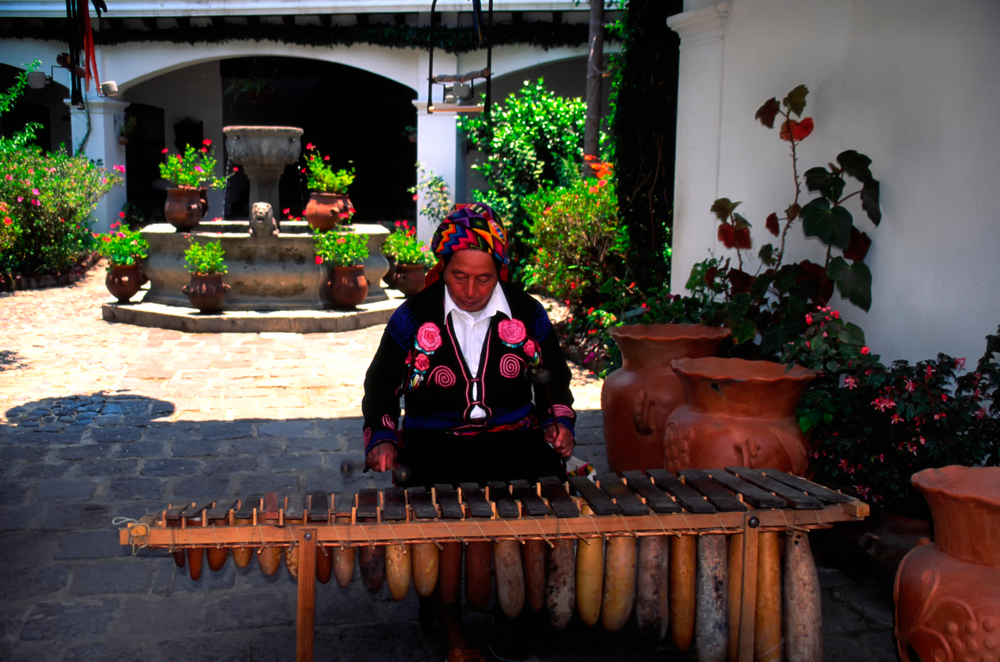 woman plays marimba